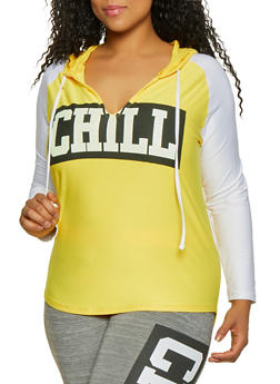 Plus Size Chill Hooded Active Top - 1951038347070