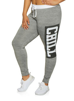 Plus Size Chill Graphic Active Pants - 1951038347073