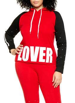 Plus Size Lover Color Block Sweatshirt - 1951038347074