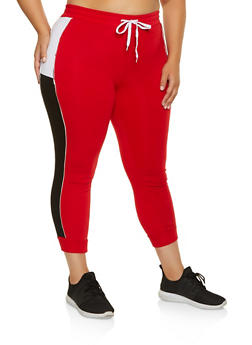 Plus Size Color Blocked Joggers - 1951038347081