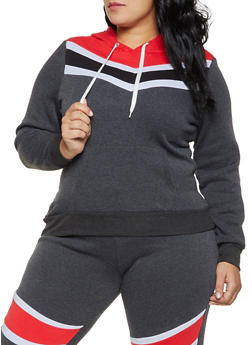 Plus Size Color Block Fleece Lined Sweatshirt - 1951038347132
