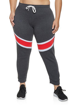 Plus Size Color Block Detail Joggers - 1951038347135