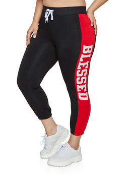 Plus Size Blessed Color Block Joggers - 1951038347143