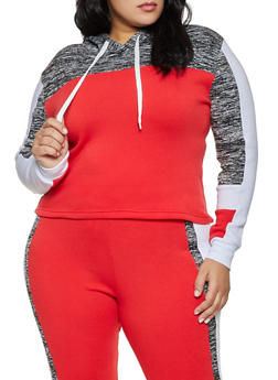 Plus Size Hooded Color Block Sweatshirt - 1951038347154