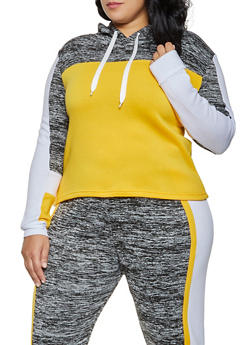 Plus Size Hooded Color Block Sweatshirt - 1951038347154