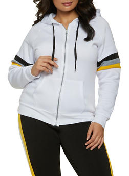 Plus Size Striped Sleeve Hooded Sweatshirt - 1951038347202