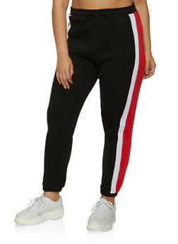 Plus Size Side Stripe Detail Joggers - 1951038347203