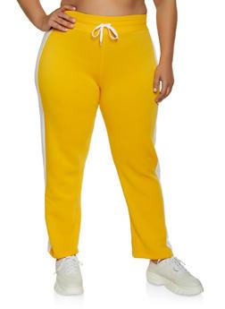 Plus Size Fleece Lined Side Stripe Sweatpants - 1951038347215