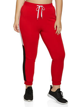 Plus Size Color Block Side Joggers - 1951038347233