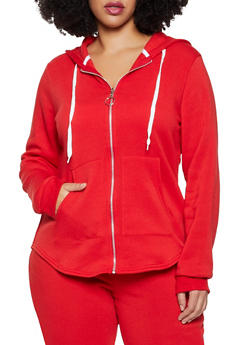 Plus Size Hooded Zip Front Sweatshirt - 1951038347252