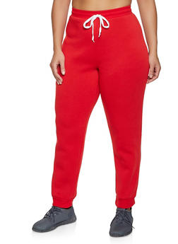 Plus Size Fleece Lined Drawstring Joggers - 1951038347253