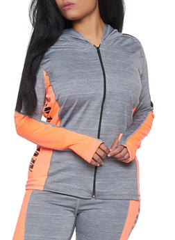 Plus Size Never Give Up Zip Front Active Top - 1951038347281