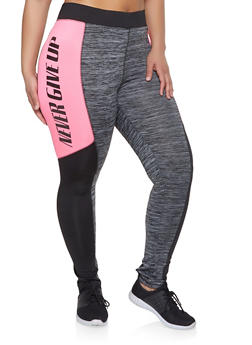 Plus Size Never Give Up Active Leggings - 1951038347282