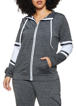 Plus Size Zip Color Block Sweatshirt - 1951038347324