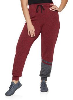 Plus Size Fleece Lined Color Block Detail Joggers - 1951038347325