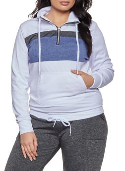 Plus Size Half Zip Color Block Sweatshirt - 1951038347334