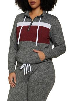 Plus Size Half Zip Color Block Sweatshirt - 1951038347334