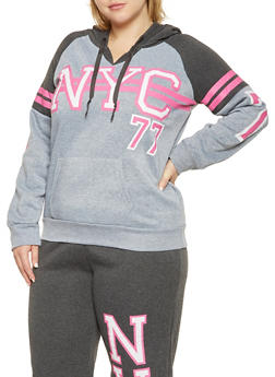 Plus Size NYC Graphic Hooded Sweatshirt - 1951038347371