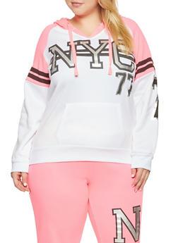 6b36eb4e32b Plus Size NYC Graphic Hooded Sweatshirt - 1951038347371