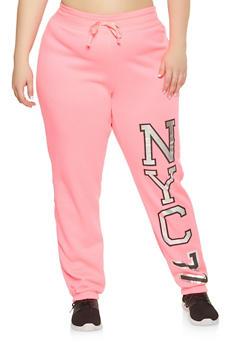 Plus Size NYC Graphic Sweatpants - 1951038347372