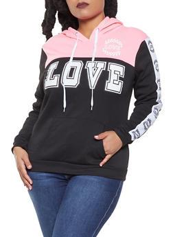 Plus Size Love Graphic Pullover Sweatshirt - 1951038347373