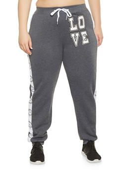 Plus Size Love Graphic Sweatpants - 1951038347374