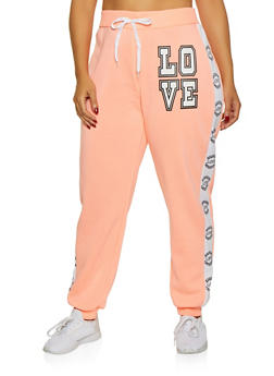 Plus Size Love Tape Sweatpants - 1951038347374