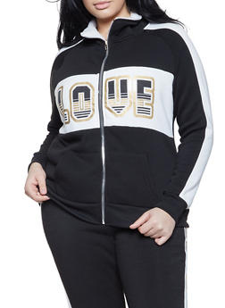 Plus Size Love Sherpa Lined Sweatshirt - 1951038347420