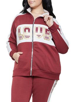 Plus Size Love Sherpa Lined Sweatshirt - 1951038347420