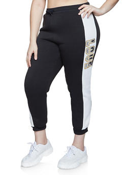 Plus Size Love Sherpa Lined Joggers - 1951038347421