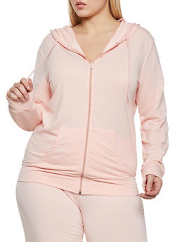Plus Size Solid Zip Front Hooded Sweatshirt - 1951038347480