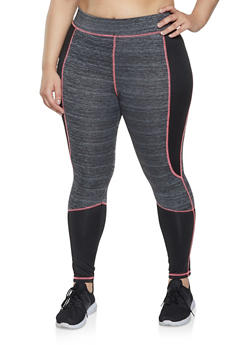 Plus Size Active Color Block Leggings - 1951038347513