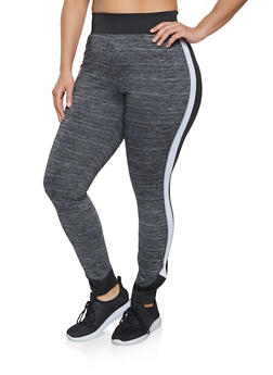 Plus Size Color Block Active Leggings - 1951038347551
