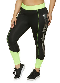 Plus Size Work It Out Color Block Active Leggings - 1951038347581