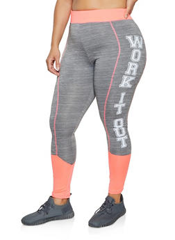 Plus Size Work It Out Color Block Active Leggings - 1951038347581