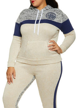 Plus Size Color Blocked New York Sweatshirt - 1951038347600