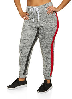 Plus Size Marled Striped Detail Joggers - 1951038347601