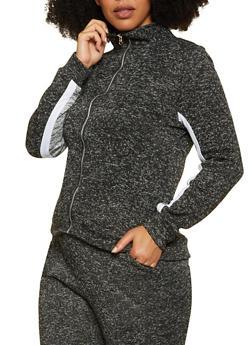 Plus Size Marled Zip Front Sweatshirt - 1951038347610