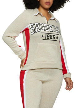 Plus Size Brooklyn Zip Neck Pullover Sweatshirt - 1951038347620