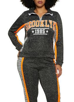 Plus Size Brooklyn Zip Neck Pullover Sweatshirt - 1951038347620