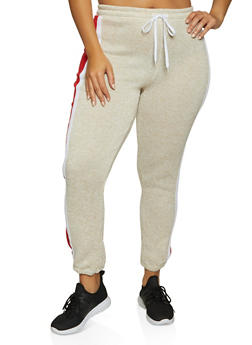 Plus Size Color Block Knit Joggers - 1951038347621