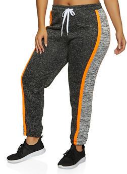 Plus Size Color Block Knit Joggers - 1951038347621