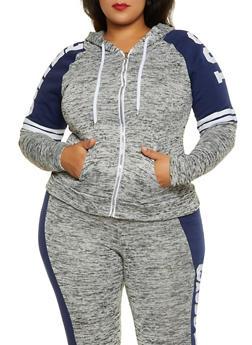 Plus Size Chill Color Block Sweatshirt - 1951038347630