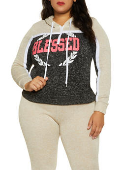Plus Size Blessed Color Block Sweatshirt - 1951038347640
