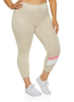 Plus Size Marled Stripe Detail Joggers - 1951038347641