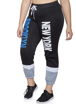 Plus Size New York Graphic Sweatpants - 1951038347731