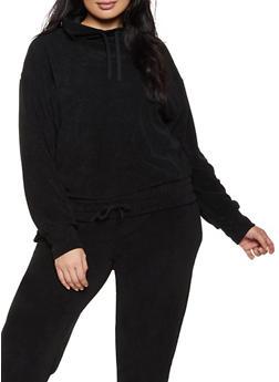 Plus Size Corduroy Drawstring Hem Sweatshirt - BLACK - 1951038347770