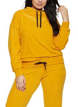 Plus Size Corduroy Drawstring Hem Sweatshirt - 1951038347770