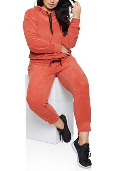 Plus Size Corduroy Drawstring Hem Sweatshirt - RED - 1951038347770