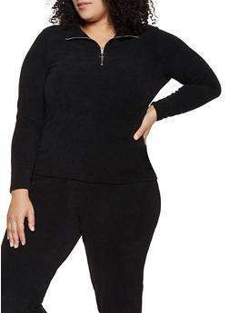Plus Size Corduroy Zip Neck Top - BLACK - 1951038347780